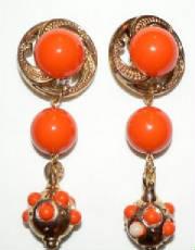 Over size orange earrings