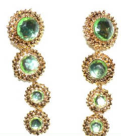 Over size green stone earrings