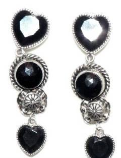 Black stone over size earrings