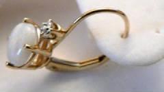 14k diamond opal earrings